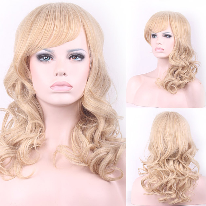 55cm Fashion Synthetic Lace Front Wig Long Curly Wavy Cosplay Wigs For Women Wigs Hair Wig Girl Gift Light Golden HB88<br><br>Aliexpress
