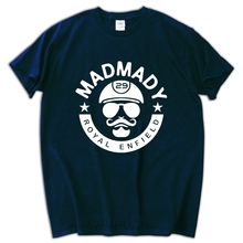 male funny present Madmady Royal Enfield Classic Motorcycle Men's Black White T-Shirt Casual Short Sleeve Shirt Tee(China)