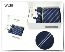 Cufflinks Hanky Tie Clip Gift Set Premium Woven Jacquard Necktie Luxury Present with Giftbox and Handbag(China)