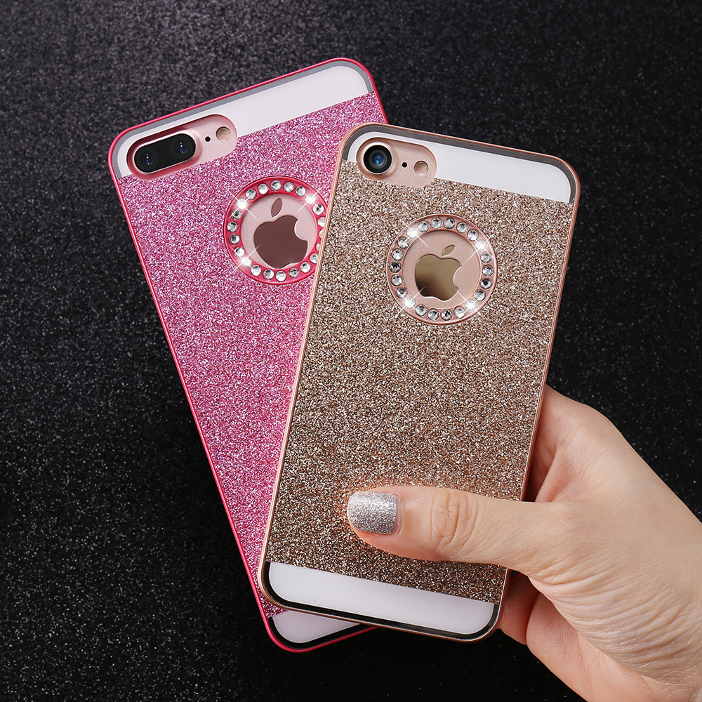 KISSCASE Glitter Bling Diamond Back Cover For Apple iPhone 5 5S SE 7 8 Plus Case Luxury Phone Case For iPhone 8 7 6 6S Plus Case(China)