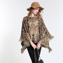 [SUMEIKE ]NEW 2017 Animal Tiger Gold Print Warm Women Poncho Winter Knitted Tassel Decor Brand Scarf High Quality Stole SMKP010