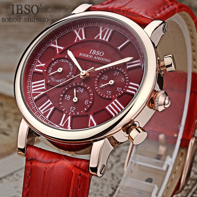 IBSO 2017 Top Brand Watches Women Luxury Black Genuine Leather Strap Montre Femme Women Clock Quartz Watches Relogio Feminino<br>
