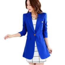 Plus size 2017 Autumn Women Blazers One Button Slim Long Suits XL XXL Ladies Blaser and Jackets Black White Blue Green T5294(China)