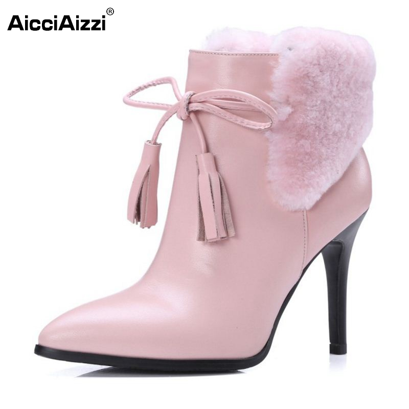 Woman Real Leather Pointed Toe Ankle Boots Women Warm Fur Thin High Heel Botas Party Wedding Heeled Shoes Size 34-39