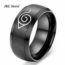 8MM Wire Drawing Black Stainless Steel Mens Ring Anime Naruto Ring Party Accessories Size 6~13