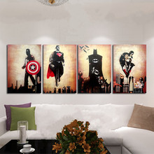 4 Panel Pictures Hand-painted Marvel Comics Heroes Oil Painting On Canvas Retro Movie Star Batman Hulk Captain America Posters(China)