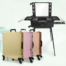 6 types Makeup Artist Train Box Professional Beauty Case with Lights LED lighted Make up