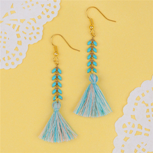 8SEASONS Women Gold color Ear Hooks Drop Earrings 0.7mm Mint Green Herringbone Chain & Cotton Tassel Pendant 7x0.6cm 1 Pair