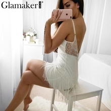 Buy Glamaker Sexy v neck white lace women dress Elegant fringe tassel mini dress Female party club backless bodycon dress vestidos for $14.99 in AliExpress store