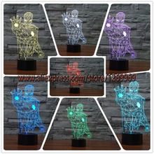 New Colourful Iron Man 3D Table Lamp Luminaria LED Night Lights Kids Children's room Decorative lighting great gift for child