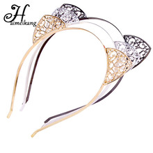 Haimeikang Women Cute Cat Ears Headband Headpieces Princess Hollow Silver Plated Hair Hoop Headdress for Girls Crown