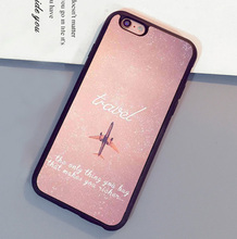 Pink Travel Aircraft Soft Rubber Skin Brand Cell Phone Cases Bags For iPhone 6 6S Plus 7 7 Plus 5 5S 5C SE 4S Back Cover