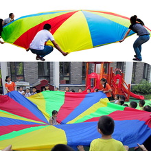 Kid Outdoor Sports Development Toy Rainbow Umbrella Parachute Toys for Kids Children Cooperation Training Play Parachute Random(China)