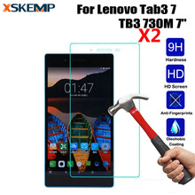 "XSKEMP 2Pcs/Lot Tempered Glass Screen Protector Film For Lenovo Tab3 7 TB3 730M 7"" Tablet PC 2.5D Edge 9H Transparent Ultra-thin"
