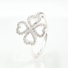 Spring New Clover Ring Petals of Love with Clear CZ Ring Original 925 Sterling Silver Rings Fashion Jewelry for Women(China)