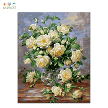 Frameless picture on wall acrylic painting by numbers abstract oil painting unique gift paint by numbers Blooming Rose G439(China)