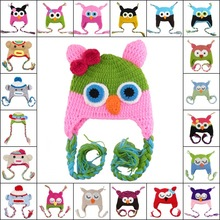 19 Bright Colors Baby Girl Boy Kids Lovely Cashmere Wool Crochet Bebe Hat Owl Monkey Mouth Cap Hand Knitted Hat Beanies Headwear