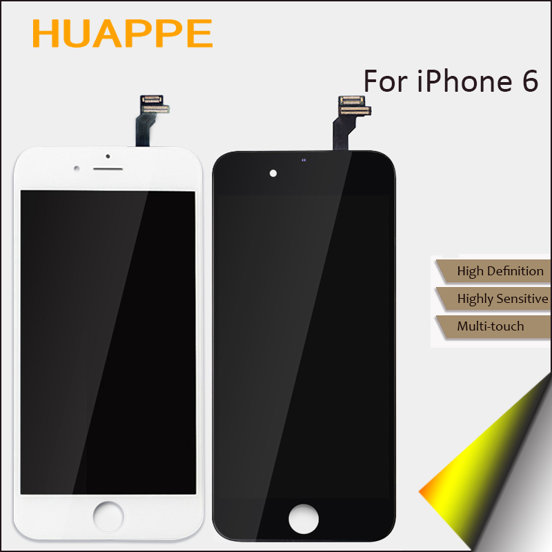 10PCS No Dead Pixel Display For iPhone 6 LCD Touch Screen Replacement With Digitizer 4.7 inches Black White AAAA High Quality<br>