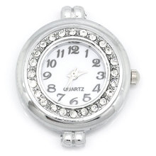 FUNIQUE 2PCs  Crystal Watches Face Round Rhinestone  Silver Tone Clock Dail Women  Watches Face 3.2cmx2.8cm