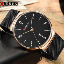 New CURREN Watch Men Black Steel Casual Sport Mens Watches Top Brand Luxury Waterproof Clock Male Quartz Watch Relogio Masculino(China)