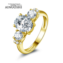 AINUOSHI 10k Solid Yellow Gold Engagement Rings 2 ct Oval Cut Simulated Diamond Jewelry 3 Stone Bridal Wedding Rings for Women