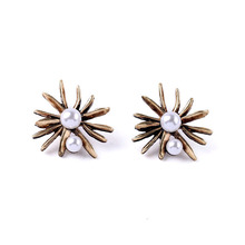 2017 Brand New Fine Jewelry Gold PEARL STARBURST Studs Earrings(China)