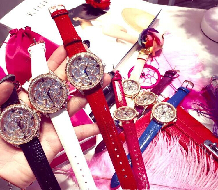 AAA Women Watches Full Rhinestone Luxury Lady Wristwatches Genuine Leather Dress Watch Women Quartz Watch Bracelet Gift Watches<br>