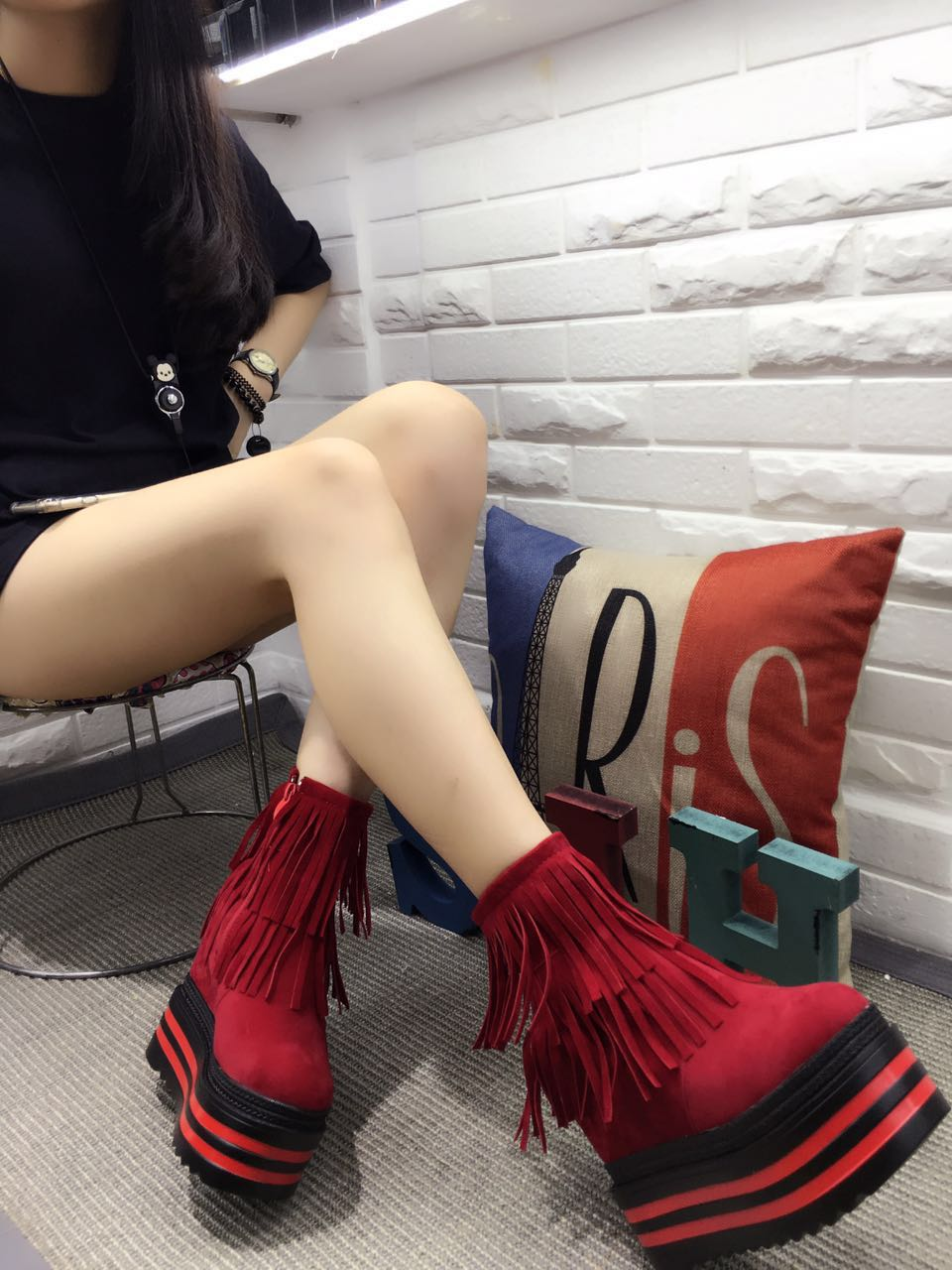 New winter Korean sexy fringed boots Slope with heavy-bottomed boots within the higher Nightclub high with bare boots<br><br>Aliexpress