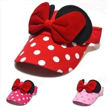 New Style Summer Korean Version Lovely Sun Hat Kids Polka Dot Big Bow Empty Top Hat Baby Boys&Girls Caps(China)