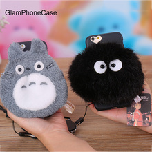 Cute Cartoon Totoro Black Briquettes Wallet Mobile Phone Pouch Coque for Apple iPhone 7 plus 6 6S Plus TPU Back Cover Bag