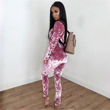 Velvet Women Suit Set Two-piece Twinset 2 Piece Top Pant Track Suit Sportswear Clothing Set female sweatsuit