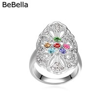 BeBella 2017 new style flower crystal woman finger ring for party made with genuine Czech crystal for Christmas gift(China)