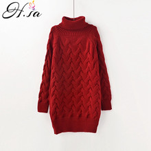 H.SA Women Sweaters long Turtleneck Knitted Pullover and Jumpers 2017 Fall Winter Warm Casual Pullover Sweaters Pull femme hiver(China)