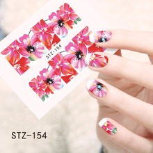 1pcs Nail Art NEW Water Transfer Designs Full Lotus Bloom Decals Nail Sticker Accessory Nail Art Supplies STZ154(China)