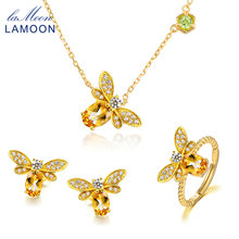 LAMOON Bee 5x7mm 1ct 100% Natural Citrine 925 sterling-silver-jewelry  Jewelry Set V027-7
