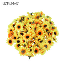 100pcs Lifelike Artificial Plastic Sunflower Heads Home Party Decorations Props (Yellow)(China)