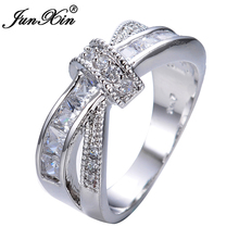 JUNXIN Luxury White Cross Ring Fashion White & Black Gold Filled Jewelry Vintage Wedding Rings For Women Birthday Stone Gifts