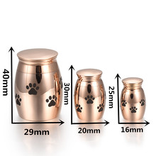 IJU0001 Rose/Gold/Black Paw Engrave Pet Funeral Urn Dog/Cat Stainless Steel Cremation Urn Memorial Cremains Ash Urn Holder(China)