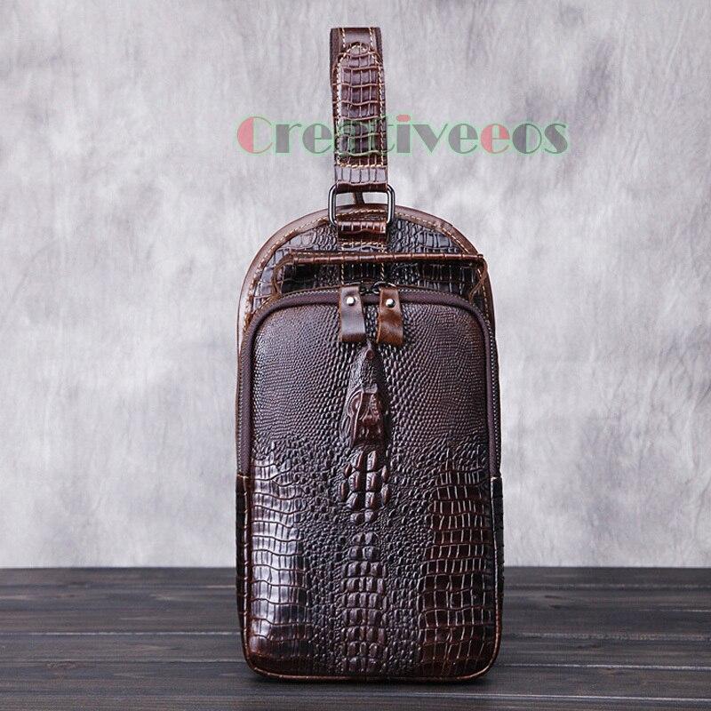 2017 New Men Genuine Leather Vintage Crocodile Travel Shoulder Cross Body Messenger Sling Pack Chest Bag<br><br>Aliexpress