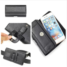 For Most Phone Universal Phone Case Hip Belt Clip Cover Dual Pouch Credit Card Bag Holster Black Flip PU Leather Purse Businiss