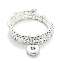 18mm metal Snap Button silver beads bracelet Elastic multi-turn around Snap Jewelry watches women one direction DIY jewelry B337(China)