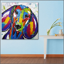 Large size Printing Oil Painting Dogs Painting Art Big ears 2 art canvas prints pictures for living room and bedroom No Frame(China)