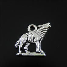 Julie Wang 10PCs Alloy Charm Retro Silver Color Wolf Pendant Charms Handmade Hanging Tops Suspension Earring Accessory