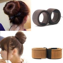 1PC Synthetic Wig Donuts Bud Head Band Ball French Twist Magic DIY Tool Bun Maker French Dish Made Hair Band Hair Accessories(China)