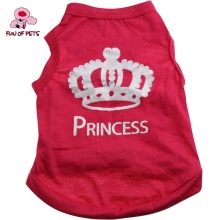 2017 Lovely Princess Crown Pattern 100% Cotton vest Puppy Rose Cotton Dog Clothes for Pets Dogs(China)