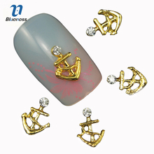 Blueness 10Pcs Nail Art Decoration Gold Anchor Shape Glitter Rhinestone 3D Nail Studs Tools Accessories Jewelry Manicure TN666(China)