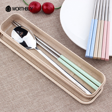 WORTHBUY Nordic Color Wheat Straw Dinnerware Set Portable Outdoor Camping Picnic School Kids 304 Stainless steel Tableware Sets