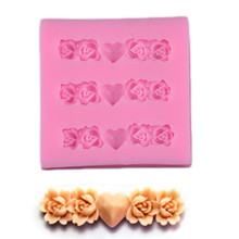 Wulekue 1PCS 3D Silicone Mini Heart Flower Mold For Fondant Chocolate Sugarcraft Wedding Cake Decoration Molds Sugar Art Tools