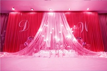 3X6M Wedding Backdrop Red Ice silk with White sheer fabric Swag /Curtain Drapes Pleated For Event&Party&Banquet&Home Decoration