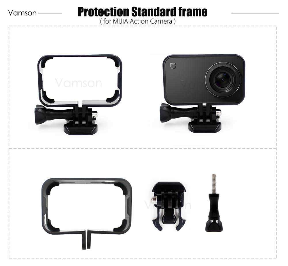 Vamson for Xiaomi mijia Accessories Protective Housing Case Cover Frame Base Mount For mi jia Sport Camera VP642
